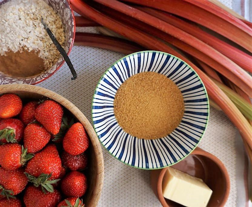 vanille fraises rhubarbe