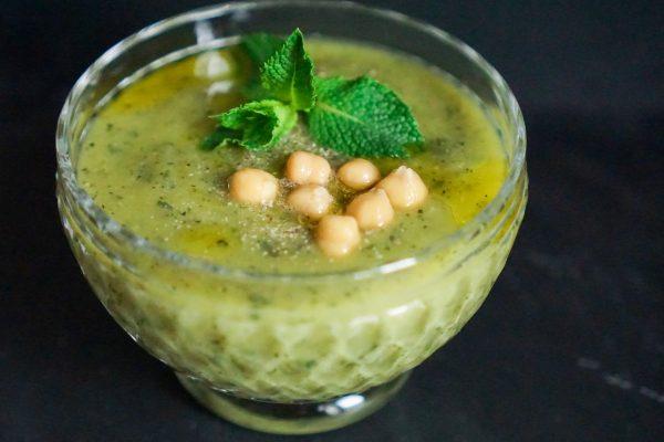 Soupe froide courgettes pois chiche menthe recette facile