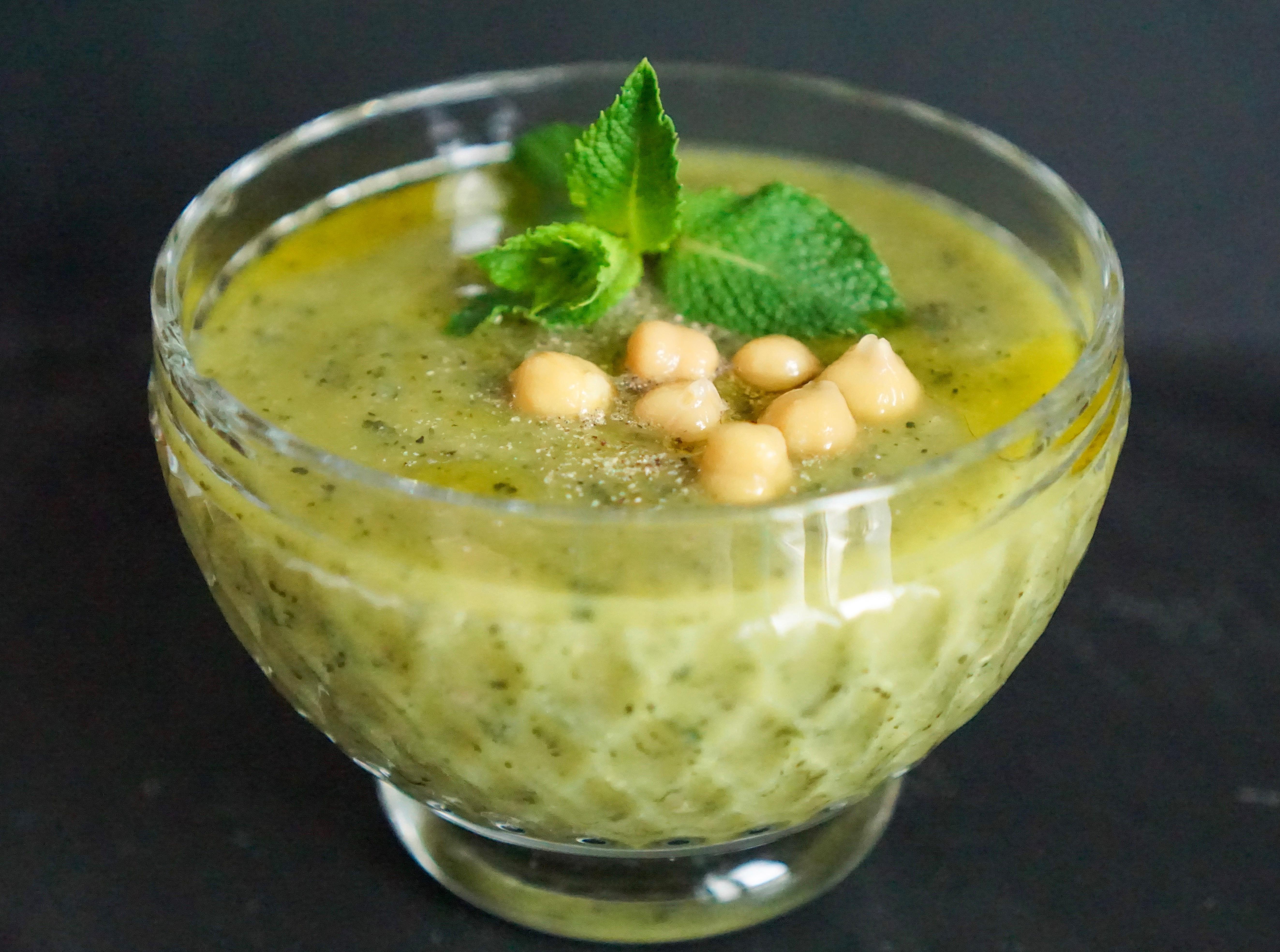 Soupe froide courgettes pois chiche menthe recette estivale