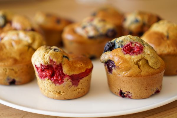 Muffins healthy aux fruits rouges
