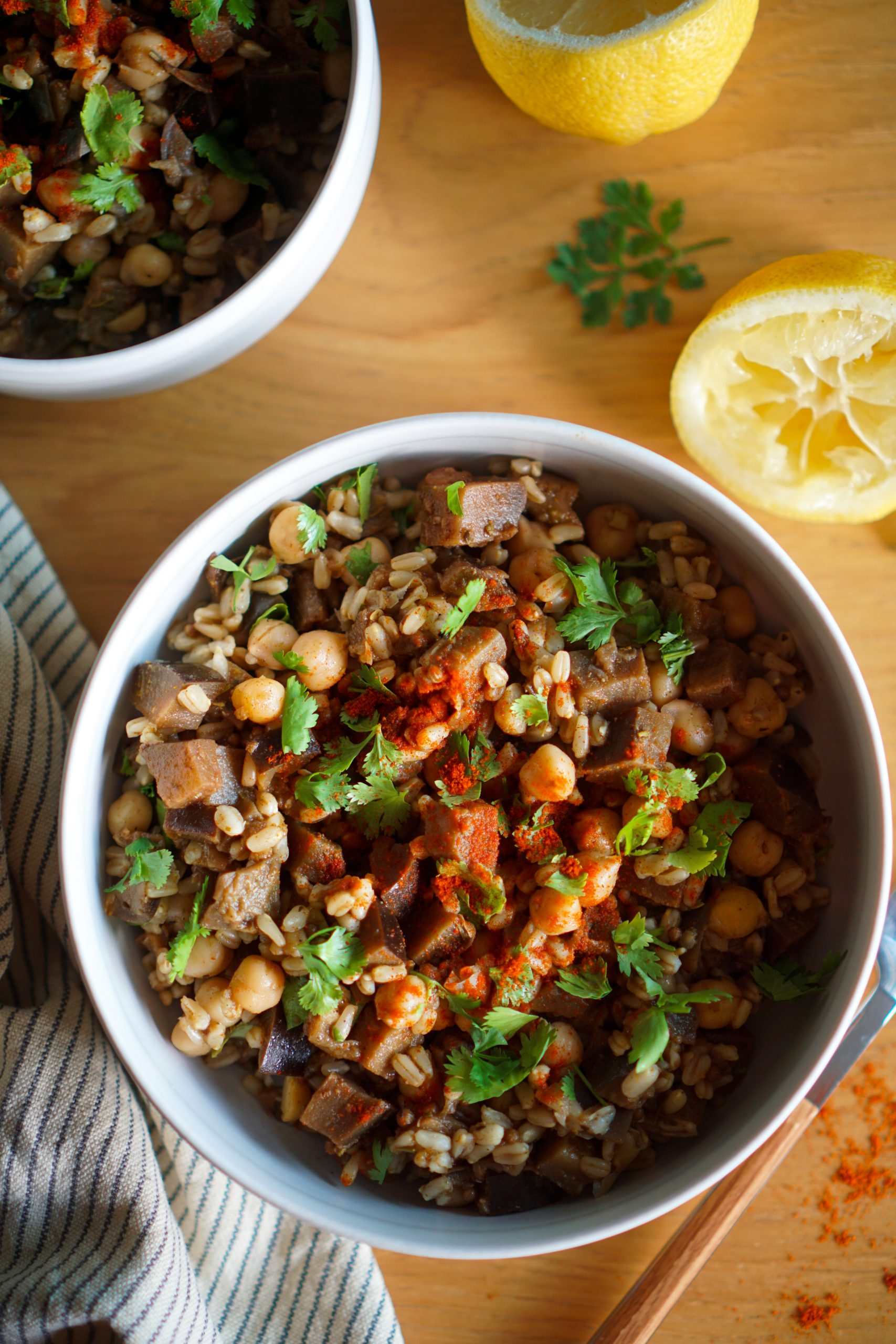 Salade aux pois chiche et aubergines recette vegan sans gluten