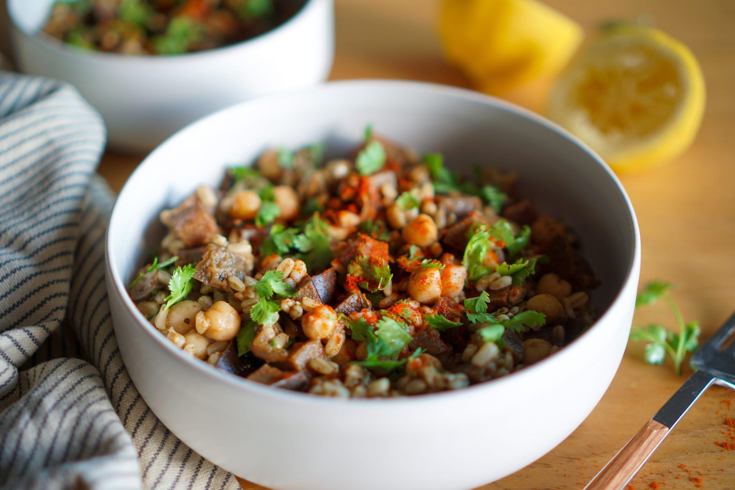 Salade aubergines pois chiche recette vegan sans gluten